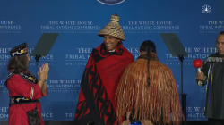 Obama Dons Honorary Hat and Blanket at Tribal Nations Conference