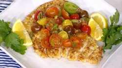 Almond-crusted chicken paillard with tomato salad: Your new fave