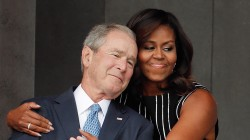 Michelle Obama embraces George W. Bush, and photo goes viral