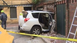 Uber Driver Slams Into Building