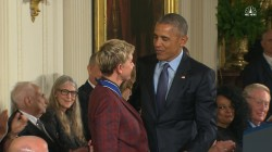 Ellen DeGeneres Sheds Tears of Joy While Accepting Medal of Freedom