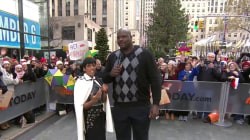 Shaquille O'Neal and Tamron Hall team up for Marine Toys for Tots