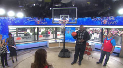 Watch Shaquille O'Neal and fans shoot hoops to benefit kids in poverty