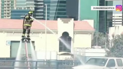 Watch Dubai firefighters use jet packs to put out flames