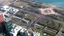 Aerial Views Show Massive Crowds at Women's Rallies