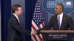 Pres. Obama Surprises Josh Earnest at Last WH Press Briefing
