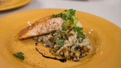 Try chef Joel Gamoran's grilled salmon, creamy cauliflower risotto