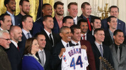 President Obama (a White Sox fan) welcomes Chicago Cubs to White House