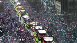 Falcons couldn't stop Patriots, and weather couldn't stop their victory parade