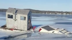 Watch: Wisconsin man loses his Cadillac after driving onto thin ice
