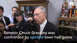 Sen. Grassley Faces Grilling in Heated Town Hall