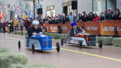 Watch NASCAR's Dale Earnhardt Jr. judge Matt Lauer and Carson Daly's soapbox derby race on the plaza