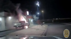 Watch courageous police officer cleverly move flame-engulfed truck