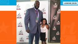 Simone Biles standing next to Shaq seems like an optical illusion