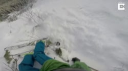 Helmet cam captures skier's narrow escape from avalanche