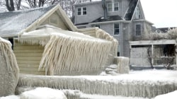 This upstate New York home is covered in ice