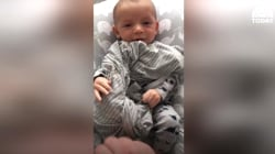 Watch this baby stop crying after smelling mom's dirty laundry!