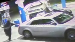 Watch: Driver knocks over gas pump, flees on foot