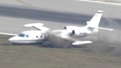 Small plane skids off runway during daring landing in Florida