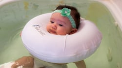 Baby spa lets infants enjoy floating, massage