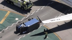 Plane clips utility truck on LAX taxiway; 8 injured