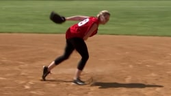 Dylan Dreyer returns to her old high school (and plays softball!)