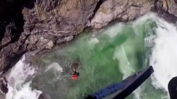 Dramatic rescue of swimmer from river rapids caught on camera