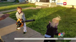 Watch this 4-year-old boy go crazy with a leaf blower