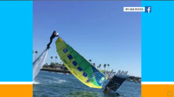 Watch this man turn a catamaran upright in the water – using a jetpack!