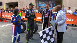 Watch NASCAR stars race an obstacle course (on foot!) on the TODAY plaza
