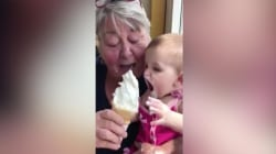 This baby can't get enough ice cream