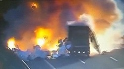 Huge Fiery Explosion as Trucks Collide on Highway
