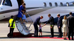 William and Kate arrive in Germany with Prince George, Princess Charlotte