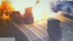 Watch: Truck crash triggers massive fireball