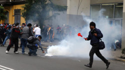 Riot Police on Horseback Clash With Striking Teachers in Peru