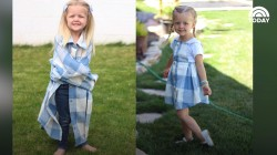 Mom turns husband's old shirts into dresses for daughters