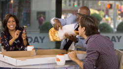 Say cheese! Al Roker, Sheinelle Jones and Justin Long take on the pizza 'super slice'