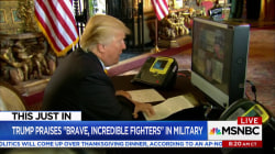 In message to troops, Trump praises, 'brave, incredible fighters'