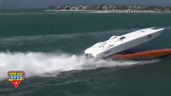 Speedboat spirals into the air, skims another boat during race in Florida