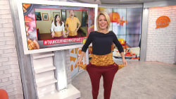 Dylan Dreyer tries on expanding Thanksgiving-themed pants