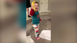 Boy gets a banana for Christmas – and he's so excited