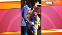 Watch firefighter propose to his girlfriend in the middle of a parade