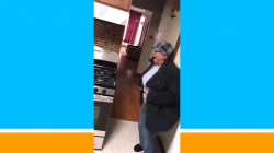 Watch this grandma jump for joy when she gets a new stove
