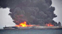 Oil tanker ablaze after colliding with freighter
