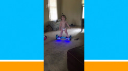 This baby has mastered riding a hoverboard