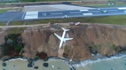 Plane in Turkey carrying 162 people slides off runway, nearly plunges off cliff