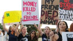 'We call BS!' School shooting survivors, hundreds rally against gun lobby