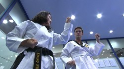 Keir Simmons gives taekwondo a try