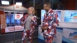 Dylan Dreyer and Craig Melvin model crazy Norwegian curling uniforms
