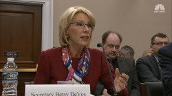 At House hearing, DeVos skirts around gun violence question